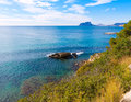 Ifach penon from moraira in alicante view of calpe mediterranean at spain Stock Photography