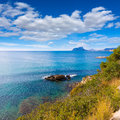 Ifach penon view of calpe in alicante from moraira mediterranean at spain Royalty Free Stock Photos