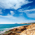 Ifach penon view from moraira alicante in mediterranean spain Stock Photos