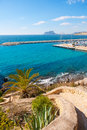 Ifach penon view from moraira alicante in mediterranean spain Royalty Free Stock Image