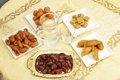 Iftar table a set for the fast breaking during the muslim holy month of ramadan with dates and water as well as a variety of Stock Image