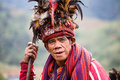 Ifugao the people in the philippines banaue january unknown old man national dress next to rice terraces on january banaue Stock Photo