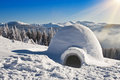 Igloo on the snow Royalty Free Stock Photo