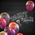 Ignite this summer party. holiday illustration with flying multicolored balloons and blackboard texture