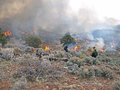 Ignition wildland fire fighters use prescribed fire to manage rangeland vegetation Stock Photo