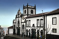 Igreja matriz de sao miguel curch of archangel in villa franco do campo one of the oldest buildings on azores islands Royalty Free Stock Photo