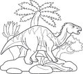 Iguanodon, wandering in search of pastures Royalty Free Stock Photo