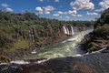 Iguassu falls canyon argentina and brazil the canion river with several on a steep hill in the largest in the world surrounded by Stock Images