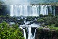 Iguassu falls the largest series of waterfalls of the world located at the brazilian and argentinian border view from brazilian Royalty Free Stock Image