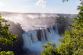 Iguassu falls waterfalls is the largest series of on the planet located in brazil argentina and paraguay Stock Image