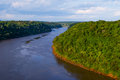Iguassu river with jungle view and clouds Stock Images
