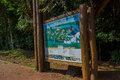 IGUAZU, BRAZIL - MAY 14, 2016: iguazus natural park map showing all the routes and places where you can go to see the Royalty Free Stock Photo
