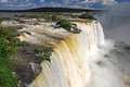 Iguazu falls in brazil huge multi tiered waterfall at iguacu national park Stock Photography