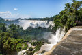 Iguazu Falls view from argentinian side - Brazil and Argentina Border Royalty Free Stock Photo
