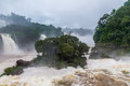 Iguazu Falls view from brazilian side - Brazil and Argentina Border Royalty Free Stock Photo
