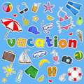 Iillustration with a set of simple colored icons of patches on the subject of vacation on blue background
