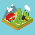 Iisometric camp, flat 3d isometric pixel art.