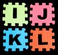 IJKL Alphabet learning blocks isolated Black Royalty Free Stock Photo