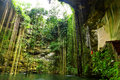 Ik-Kil Cenote dichtbij Chichen Itza Stock Foto's