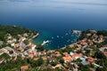 Ika bay and harbour air photo in Croatia