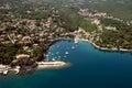 Ika bay and long natural grit sand beach air photo in Croatia