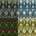 Ikat pattern four colours set different Stock Photos