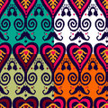Ikat pattern set native in four colours Stock Photo