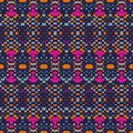Ikat seamless pattern. Vector tie dye shibori print with stripes and chevron. Ink textured background. Patchwork print