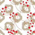 Ikat vector seamless pattern with rowanberry branch. Abstract geometric background for fabric, print or wrapping paper.