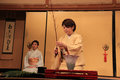 Ikebana or japanese flower arrangement kyoto japan may woman is performing traditional art of Royalty Free Stock Photo