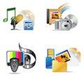 Ikony iinternet multimedii set Fotografia Stock