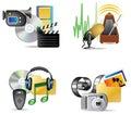 Ikony internetów multimedii set Obrazy Royalty Free