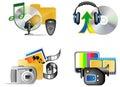 Ikony internetów multimedii set Obraz Stock