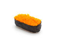 Ikura salmon roe gunkan maki sushi gunka on white blackground Stock Photography