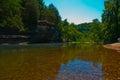 Il chiaro arkansas ozark mountain river scorre lento e costante Fotografie Stock Libere da Diritti