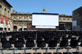 Il cinema ritrovato in bologna outdoor screen and seats of piazza maggiore italy Stock Image