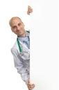 Il dottore holding blank placard Fotografia Stock Libera da Diritti