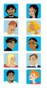 Il fumetto affronta l'accumulazione   Fotografia Stock