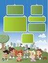 Il fumetto scherza il gioco nella sosta verde sulla città Fotografie Stock Libere da Diritti