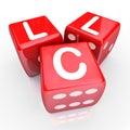 Il llc segna un gioco con lettere rosso bet new business venture entrepren di dadi Immagine Stock