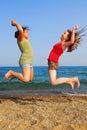 Il salto delle ragazze Fotografia Stock Libera da Diritti