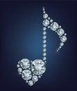 Il simbolo brillante di diamond music note con cuore ha fatto molti diamanti Immagine Stock