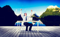 Il successo di travel destination working dell uomo d affari si rilassa il concetto Fotografie Stock Libere da Diritti