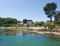 Ile de brehat idyllic coastal scenery at the at the pink granite coast in brittany france Royalty Free Stock Image