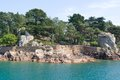 Ile de brehat idyllic coastal scenery at the at the pink granite coast in brittany france Stock Photo