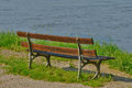 Ile de france bench by seine side in triel sur seine a Royalty Free Stock Image