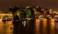 Ile de la cite paris france at night the seine river and the arch bridges downtown Stock Image