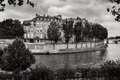 Ile saint louis and river seine paris black white photography the bank on this quiet eastern tip of the island st is one of the Royalty Free Stock Image
