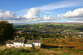Ilkley moor and a view over and the wharfe valley showing the white wells victorian spa baths house Royalty Free Stock Photography