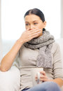 Ill woman with flu at home healthcare and medicine concept Royalty Free Stock Photos